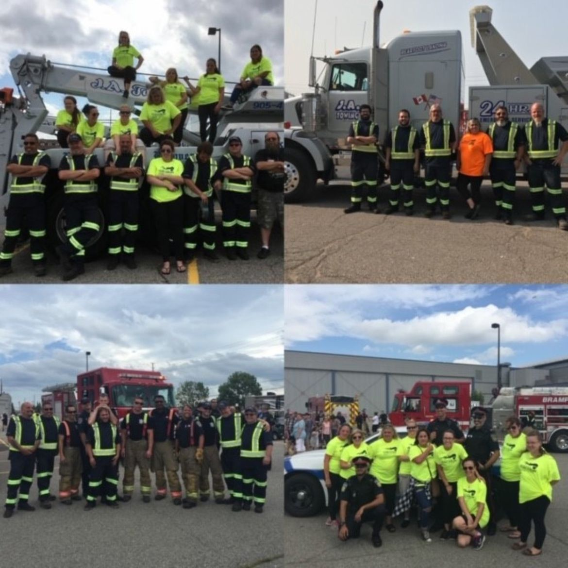 collage of towing team photos